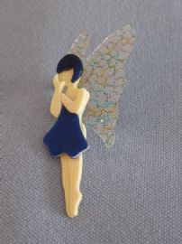 Lea Stein of Paris - Butterfly Wing Fairy Brooch in a bright blue frock (SOLD)